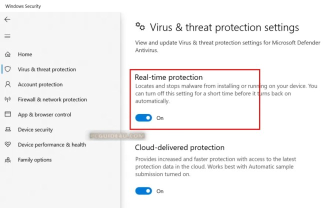 turn off real-time protection