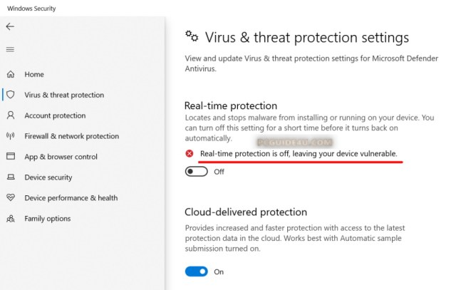 turn off windows defender real-time protection