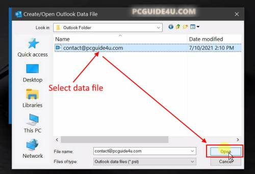 outlook data file new location