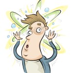 Cartoon of a person with dizziness