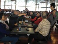 The PCHC group enjoying lunch aboard the ferry to Victoria