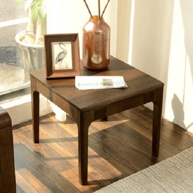 原木日式半島紅橡木實木方形茶幾邊桌s0429-胡桃色|桌丨茶幾|特力家購物網