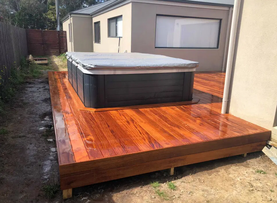decking with in-built spa