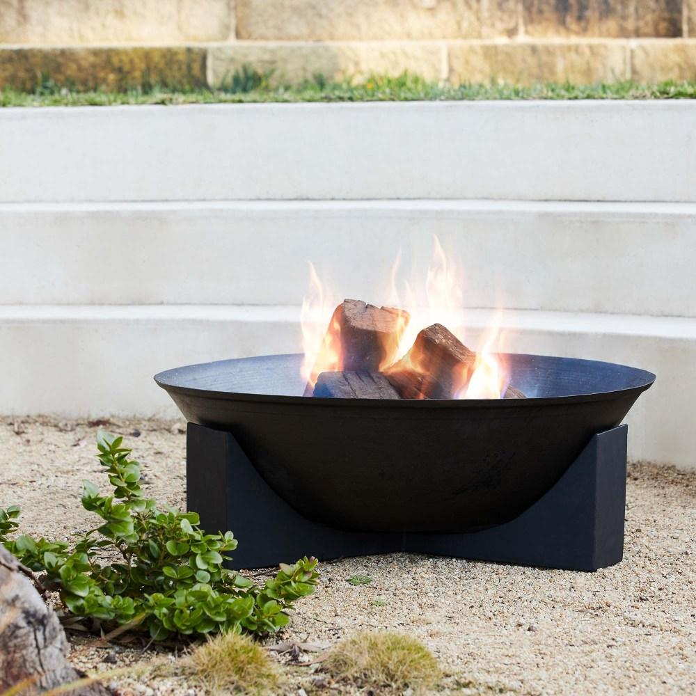 Black metal open bowl fire pit