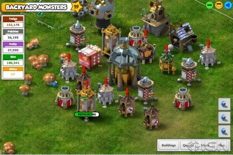 backyard monsters is a combination of city building and desktop tower defense where players have a yard in which to build contraptions and raise monsters