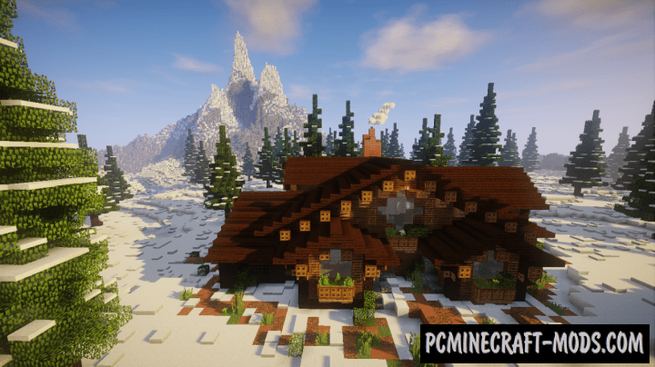 Snowy Forest Cabin Map For Minecraft 1 16 1 15 2 Pc