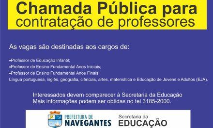 SECRETARIA DE EDUCAÇÃO LANÇA EDITAL DE CHAMADA PÚBLICA PARA CONTRATAÇÃO DE PROFESSORES