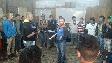 PCV and Nicaraguans working together for gender equality - Andrew and Juan Carlos during their session on fatherhood.
