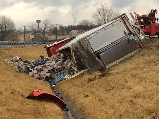 Tractor-trailer carrying celery crashes on I-81 in Wythe County