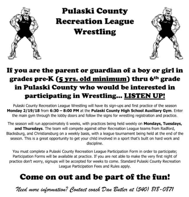 Recreation Wrestling Signup Set