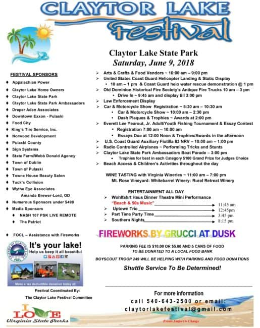 Claytor Lake Festival set June 9