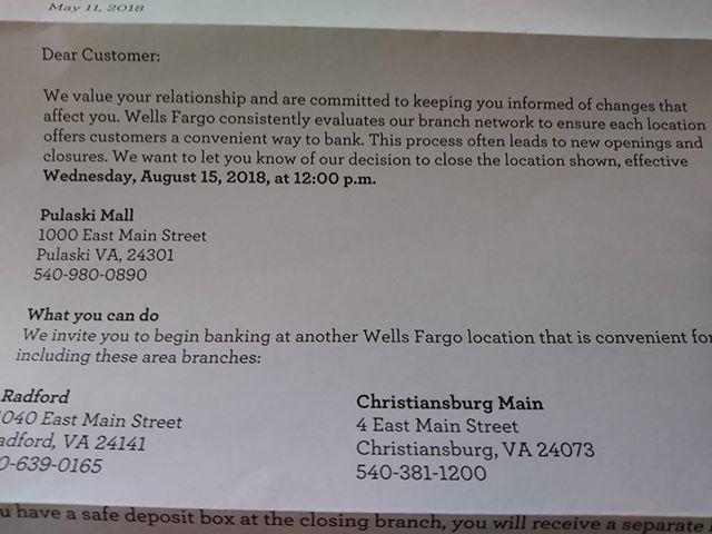 Wells Fargo closing branch in Pulaski