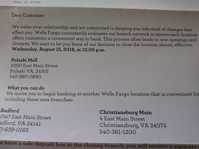 Wells Fargo closing branch in Pulaski