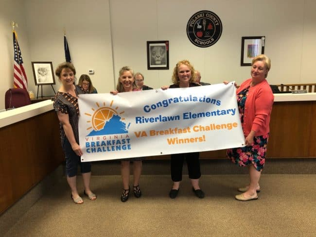 School board recognizes Riverlawn Elementary for being a winner in Virginia Breakfast Challenge