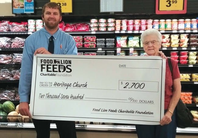 Heritage Cares Food Pantry receives gift from Food Lion