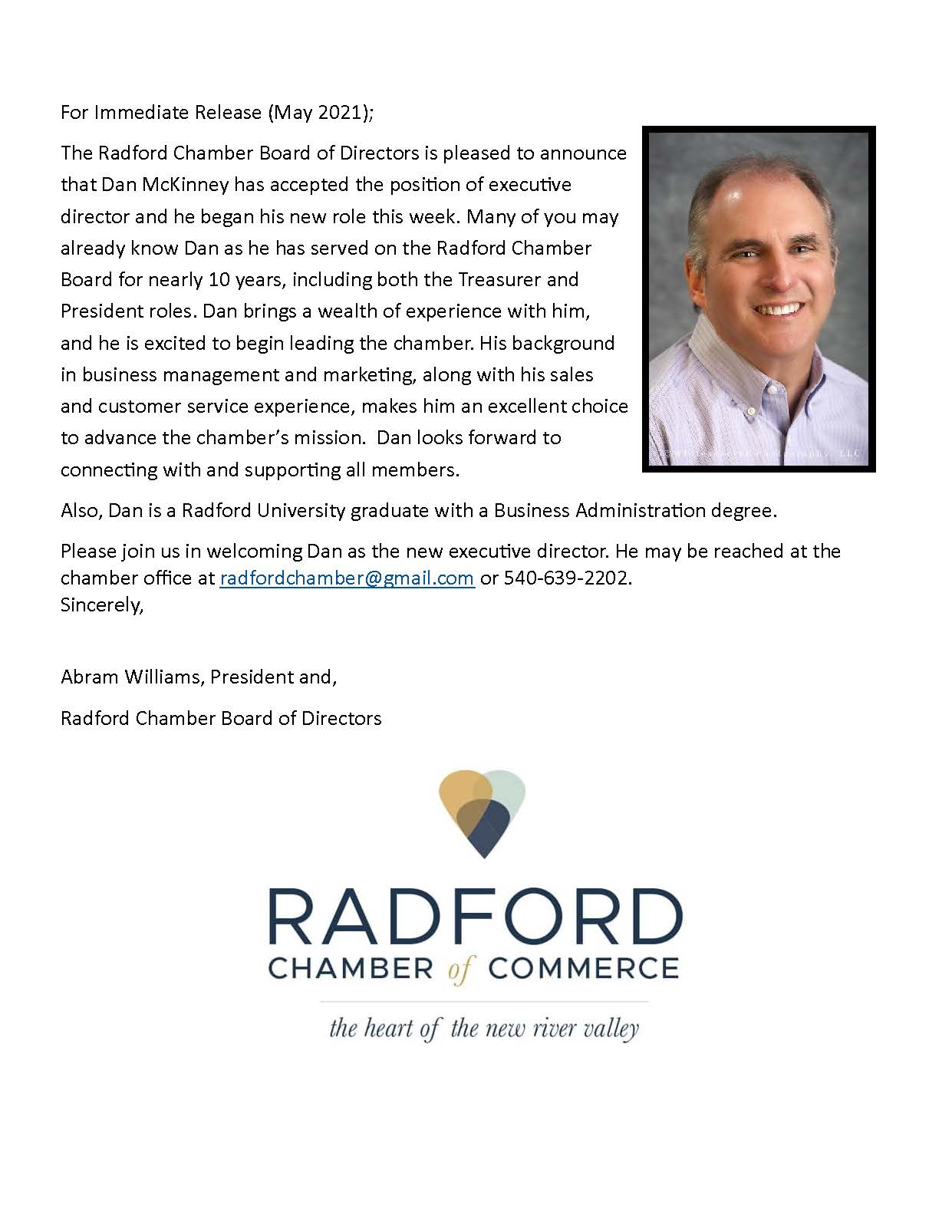 McKinney named Executive Director of Radford Chamber of Commerce