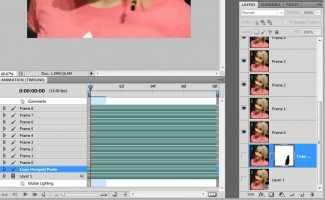 U Timeline meniju biramo Flatten Frames Into Layers i tada se odabrani delovi video materijala preslikavaju u slojeve Photoshop-a. Početna dva sloja locirana su pri dnu i deaktivirana, pa ih treba obrisati prevlačenjem na ikonicu kante za đubre