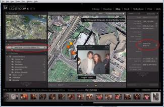 Izgled Map modula. Interesantna podopcija Saved Locations, u krugu promenjivog položaja i radijusa čuva i pamti prebačene slike sa konkretne lokacije i snima se na istoimenom tabulatoru uz sve ostale kolekcije sa leve strane. Dvoklik na ikonicu sa više snimaka omogućava neku vrstu lokalnog Thumbnail pregleda. Označeni su delovi sa kojih se, kasnije, preko pridruženih strelica može pristupiti takvoj lokaciji
