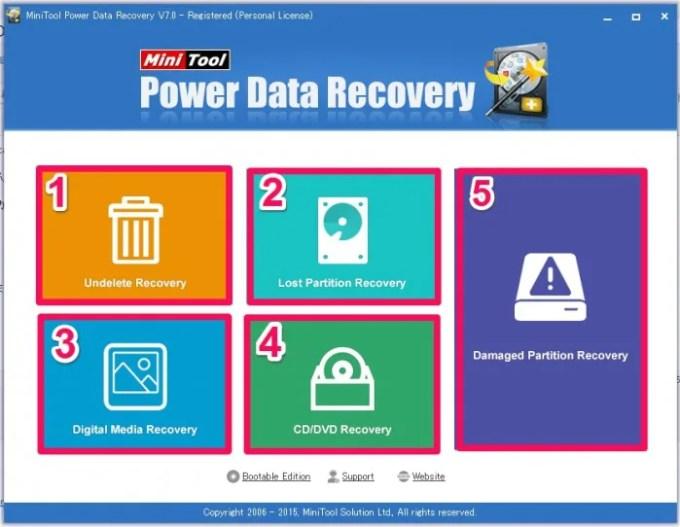 MiniTool Power Data Recoveryの画面の見方