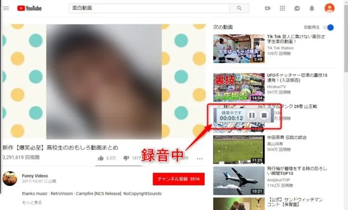 「B's 動画レコーダー5」でWEB動画の音声を録音