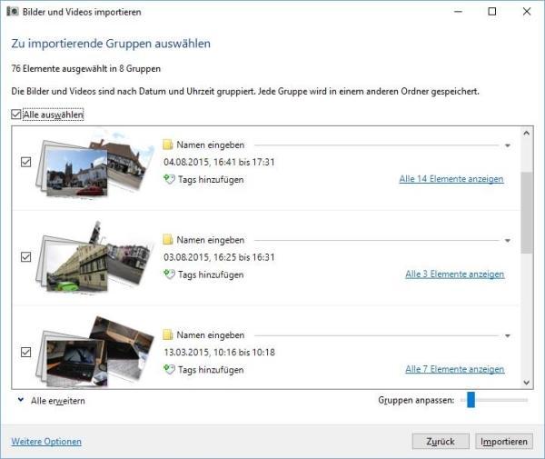 Auswahl der Bilder und Videos zum Importieren