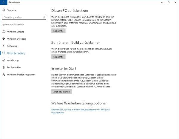 Windows 10 Wiederherstellungsoptionen