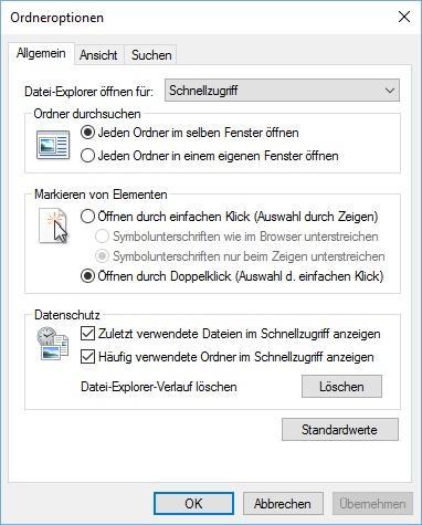 Windows 10 Ordneroptionen