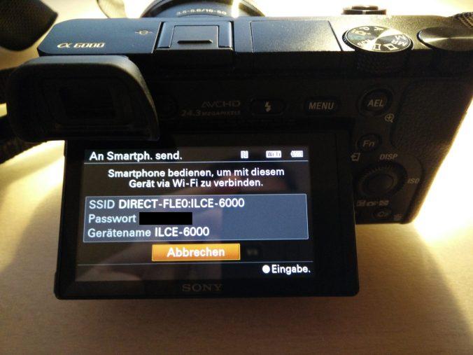 WLAN-Verbindung im Menü der Sony Alpha 6000