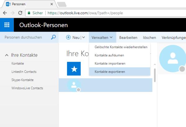 Windows Phone Kontakte auf Android - Outlook Web Kontakte exportieren