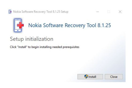 Click to start install the setup for Nokia software recovery tool