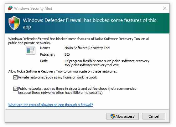 Give your windows defender instructions to unblock all features of this app