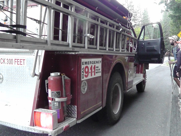 Firetruck stops for hitch