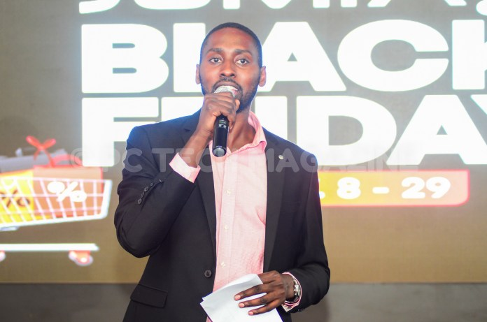 Jumia Uganda CEO Ron Kawamara speaking to media at the launch of the 2019 Black Friday. Photo by/OLUPOT NATHAN ERNEST | PC TECH MAGAZINE