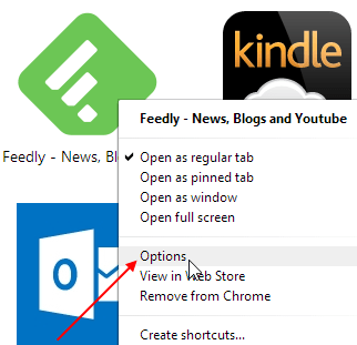 Feedly Chrome Options