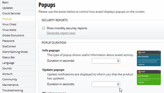 avast free antivirus disable pop ups