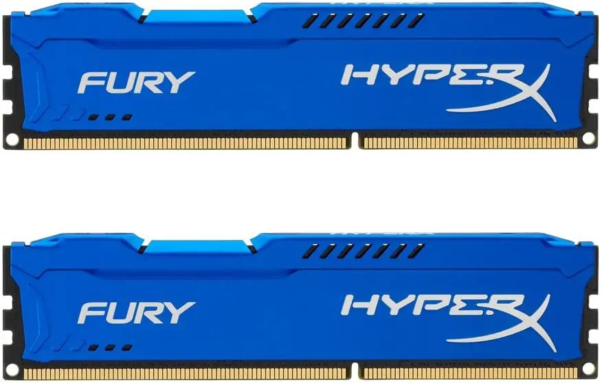 Kingston HyperX FURY 16 GB Kit of 2 (2 x 8 GB) 1600 MHz DDR3 CL10 DIMM (Blue) (HX316C10FK2/16)