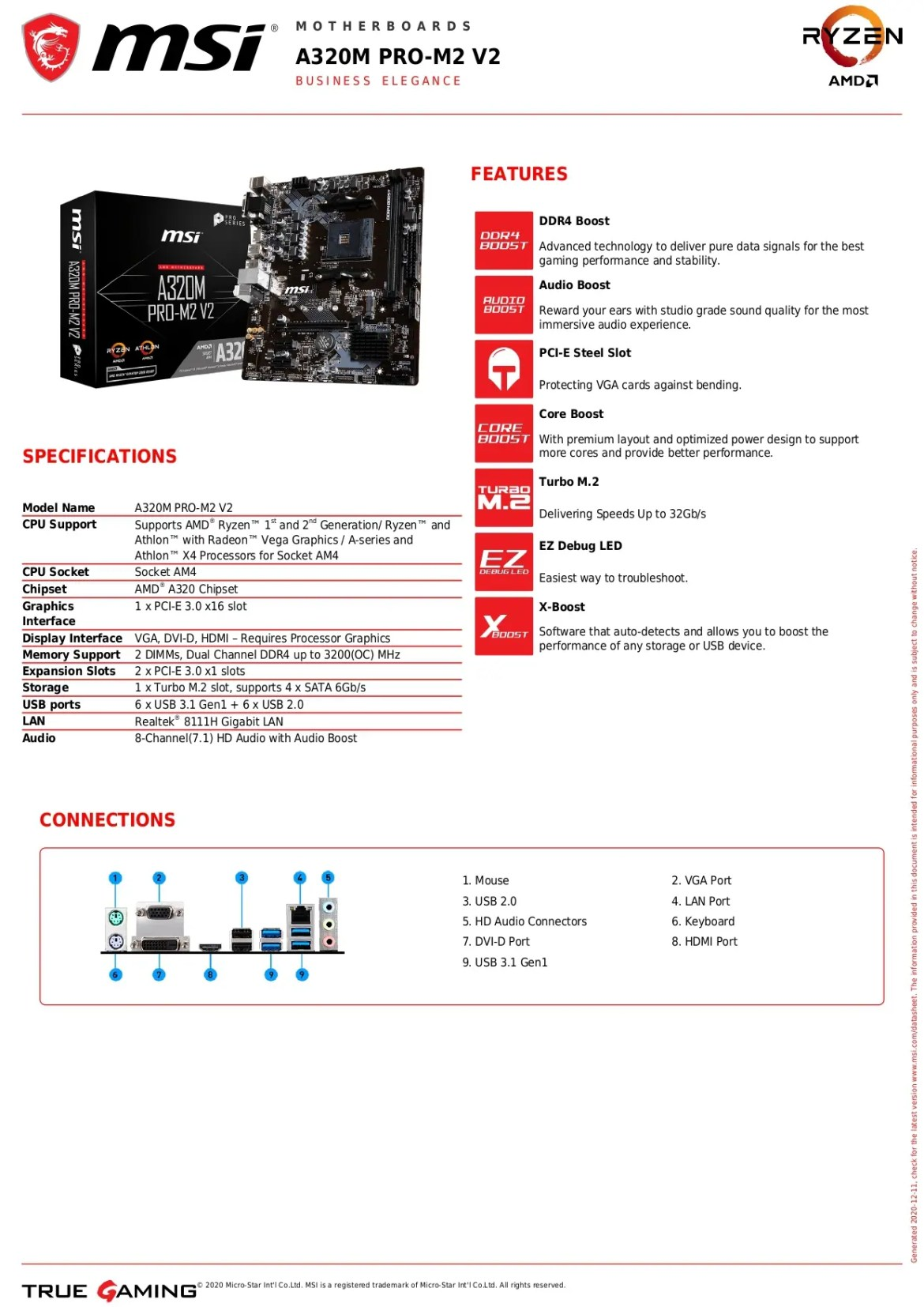 MSI A320M PRO-M2 V2 Motherboard