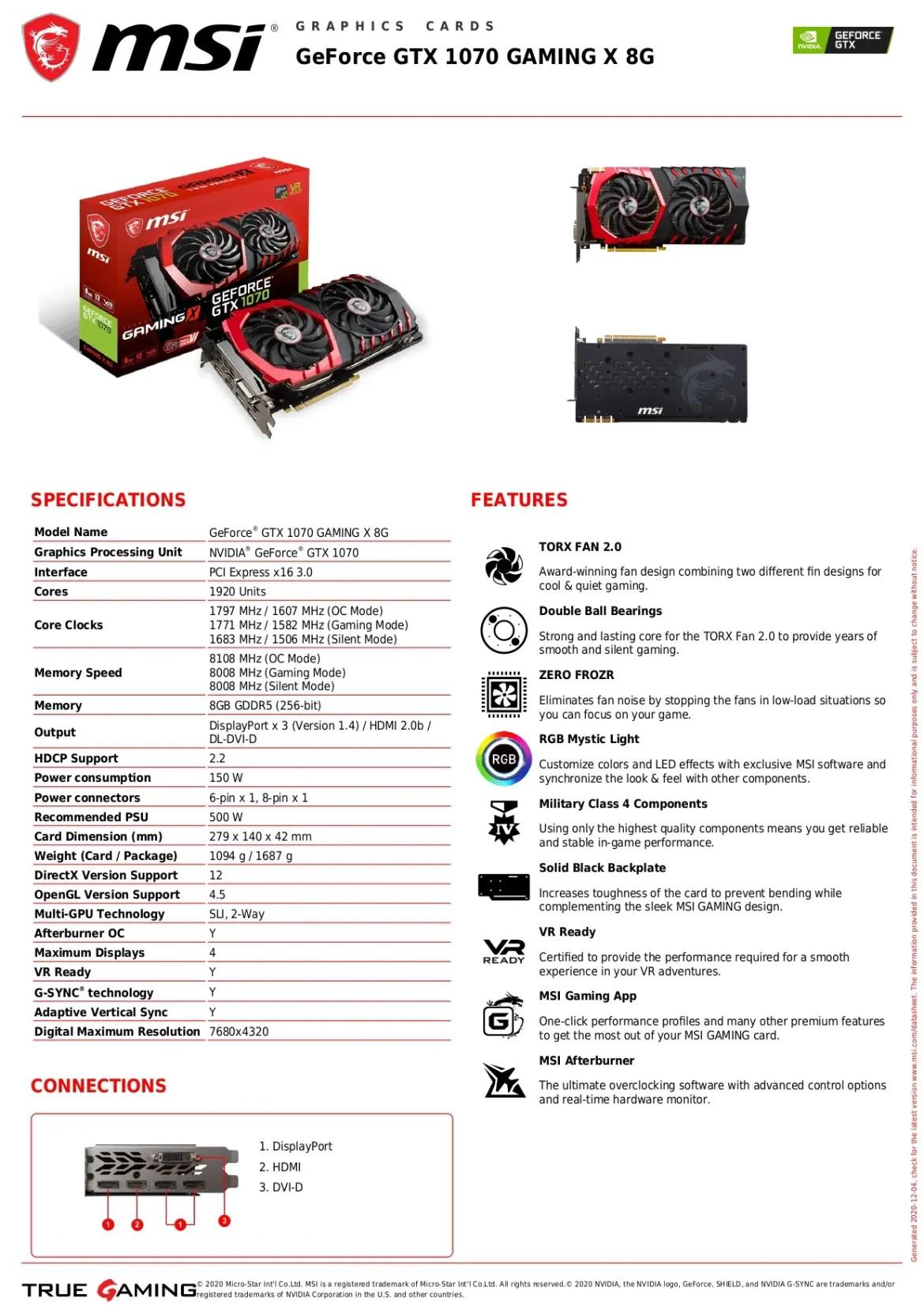 MSI GeForce GTX 1070 GAMING X 8G Graphics Card
