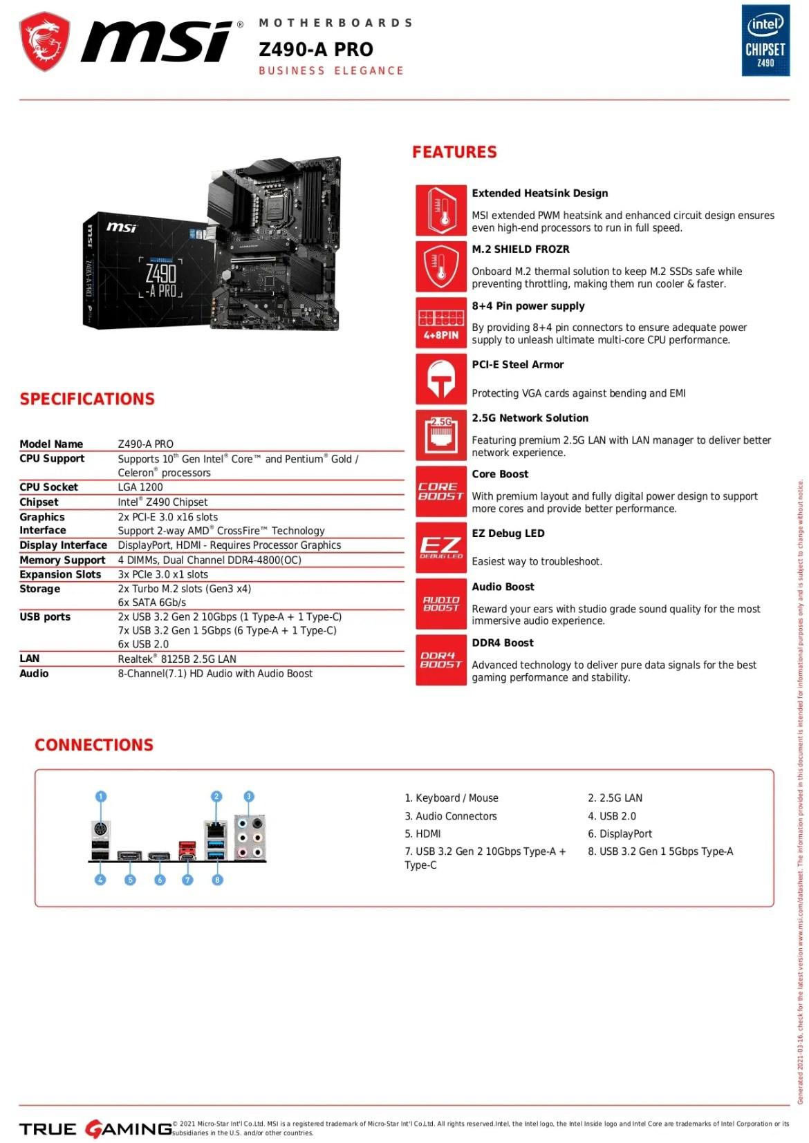 MSI Z490-A PRO LGA 1200 Intel 10th Gen DDR4 M.2 USB 3.2 SATA 6 GB/s ATX Intel Motherboard