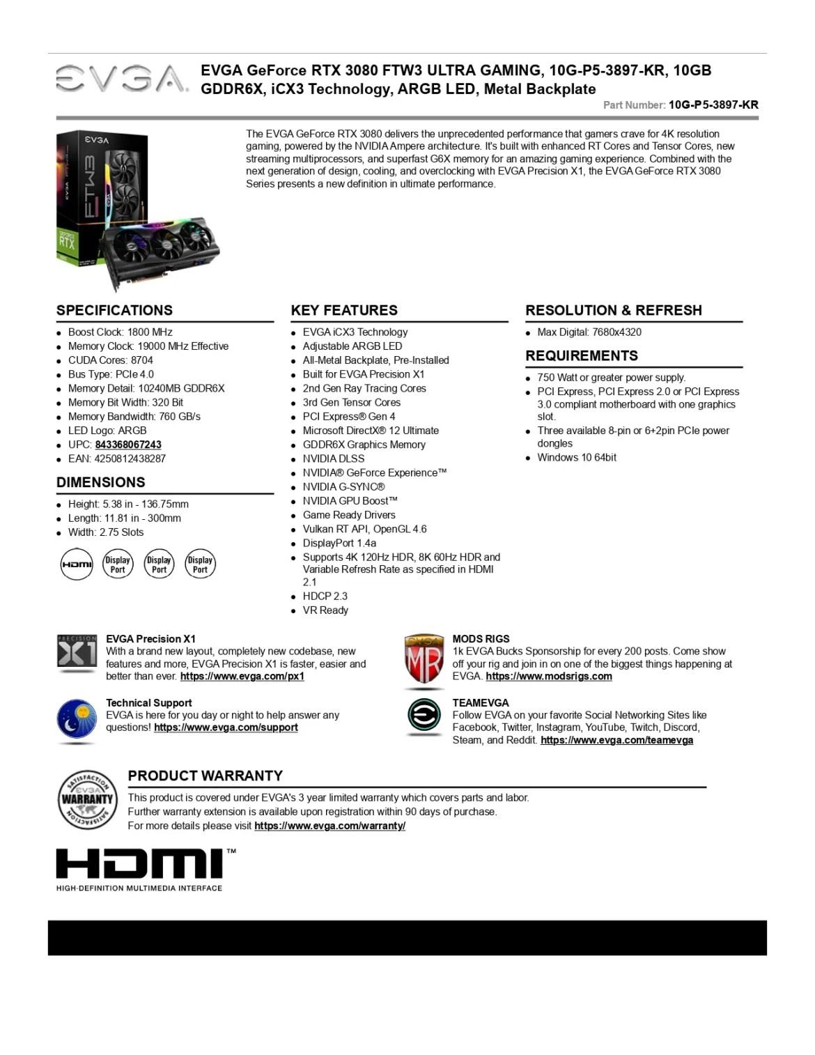 EVGA GeForce RTX 3080 FTW3 ULTRA GAMING Graphics Card (10G-P5-3897-KR)