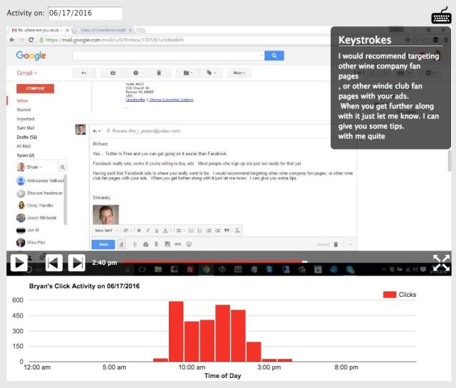 PC Tattletale Email Recording Screen Shot
