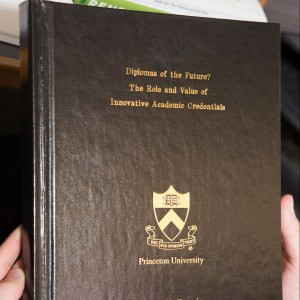 Every senior dreams of the day their thesis is finally binded! Photo credit: Princeton University Office of Communications