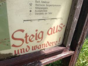 """Get out there and hike!"" A trail map from a mountain range in central Germany."