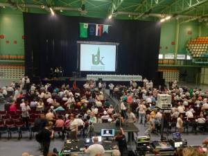 Participants gather for the opening ceremony of the Esperanto World Congress in Slovakia.