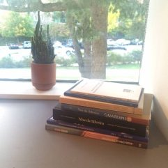 As I develop my thesis research, I hope that I continue to be interested in learning more. After all, just this summer, even before stepping foot in Firestone, I accrued this stack of books!