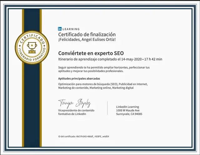 Certificado curso conviértete en experto SEO de Linkedin Learning logrado en 2020