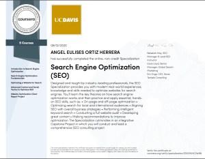 Seo specialization certificate Uc Davis- Coursera