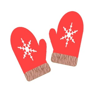 ミトンの手袋:赤色