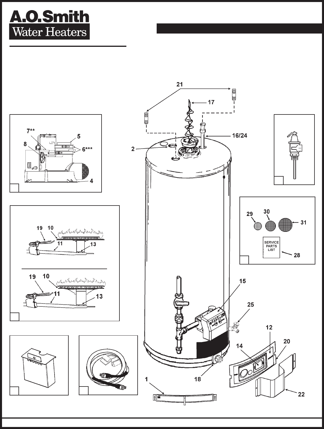Gas Water Heater Parts Burner Within Diagram Wiring And