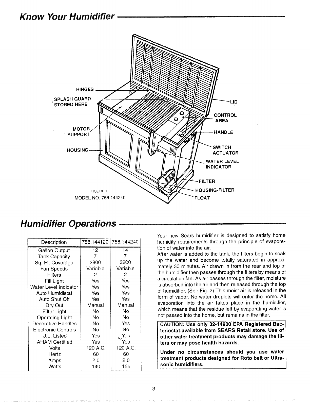 Page 3 Of Sears Humidifier 758 User Guide